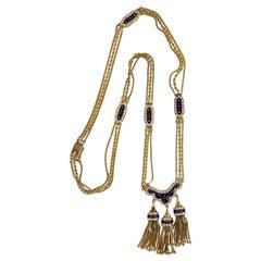 1950's Diamond Enamel 18 Karat Yellow Gold Tassel Drop Vintage Necklace