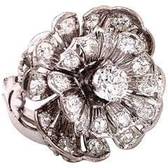 1950s Diamond Floral Motif 18 Karat White Gold Estate Ring