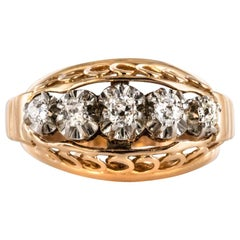 1950s Diamond Gold Platinum Dome Ring