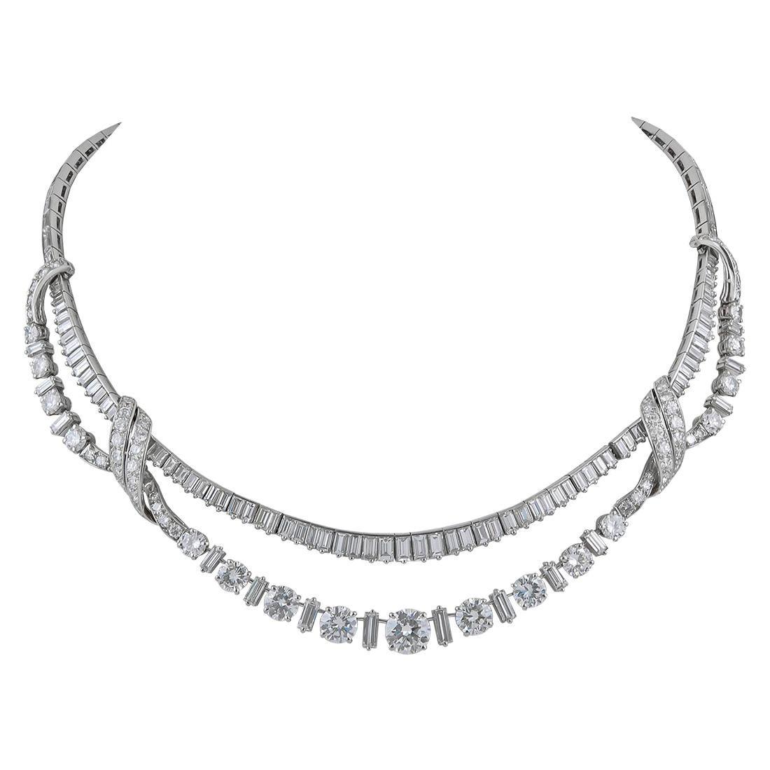 Diamond Platinum Fringe Necklace