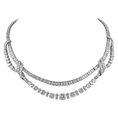 Diamond Platinum Fringe Necklace