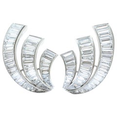 1950s Diamond Platinum Clip-On Earrings