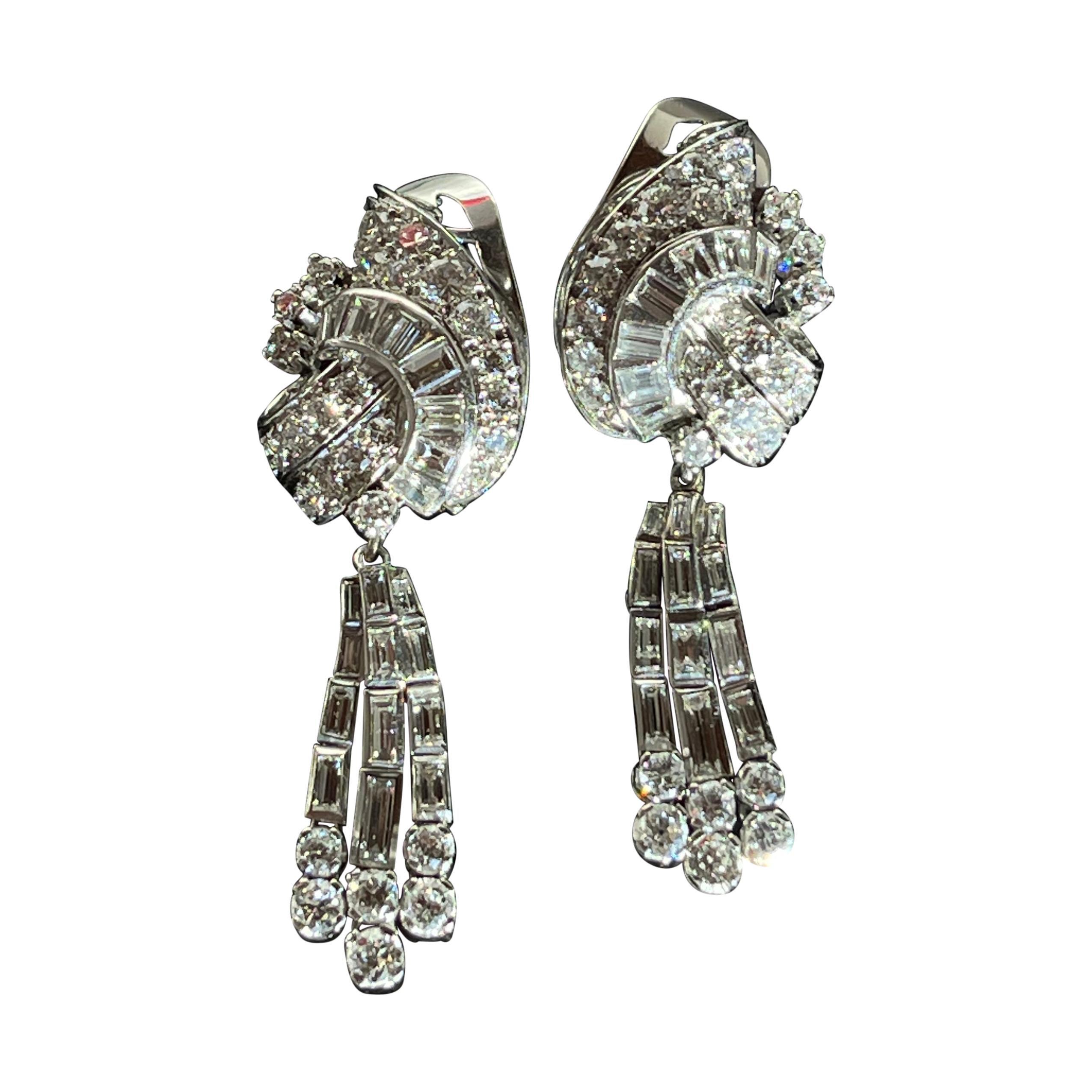 1950s Diamond, Platinum Day and Night Earrings