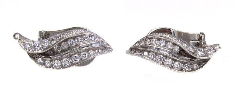 Women's or Men's 1950s Diamond Platinum Ear Clips For Sale