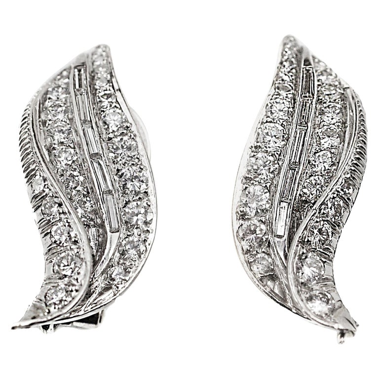 1950s Diamond Platinum Ear Clips For Sale
