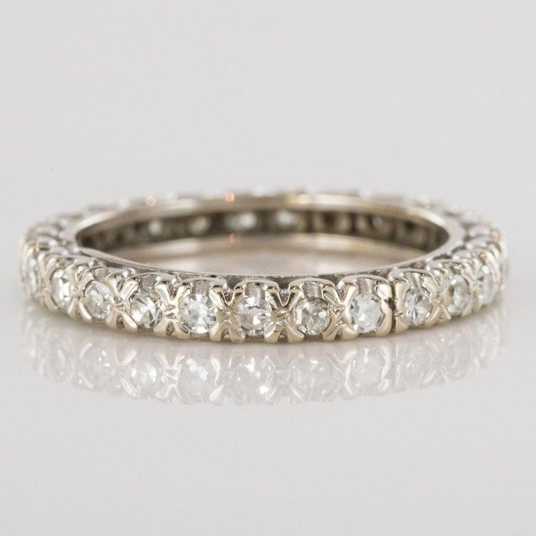 Retro 1950s Diamond Platinum Wedding Ring For Sale