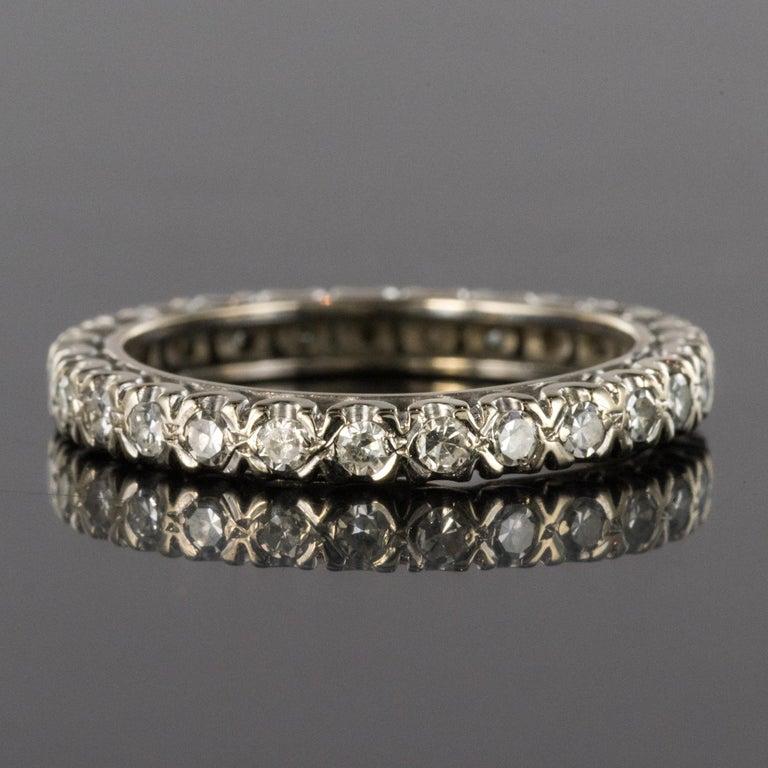 1950s Diamond Platinum Wedding Ring For Sale 2