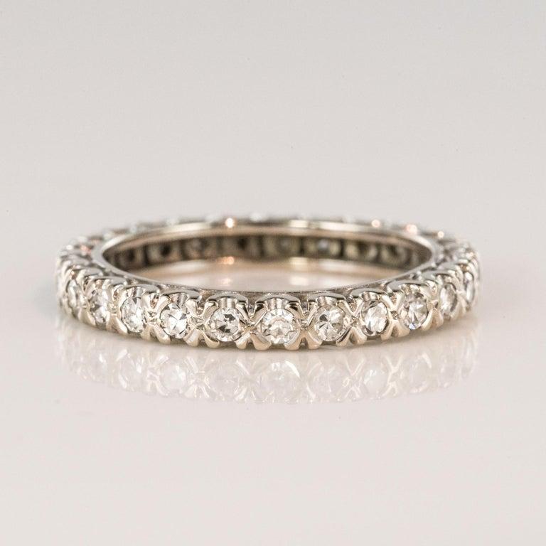 1950s Diamond Platinum Wedding Ring For Sale 4