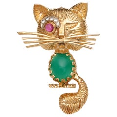 1950s Diamond, Ruby and Jade Winking Cat Pendant Brooch