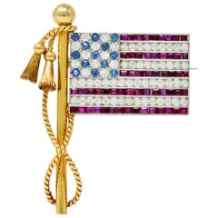 1950s Diamond Sapphire Ruby 18 Karat Gold Platinum American Flag Unisex Brooch