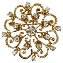 1950's Diamond Starburst 14 Karat Yellow Gold Vintage Pin Pendant
