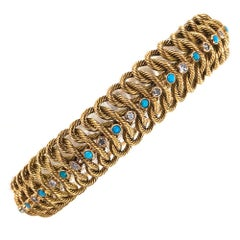 1950s Diamond Turquoise 18 Karat Yellow Gold Link Bracelet