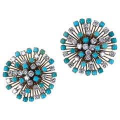 1950s Diamond Turquoise Starburst 18 Karat Yellow Gold Earrings