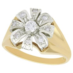 1950s Diamond Yellow Gold Cluster Ring
