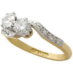 1950s Diamond Yellow Gold Platinum Set Twist Ring