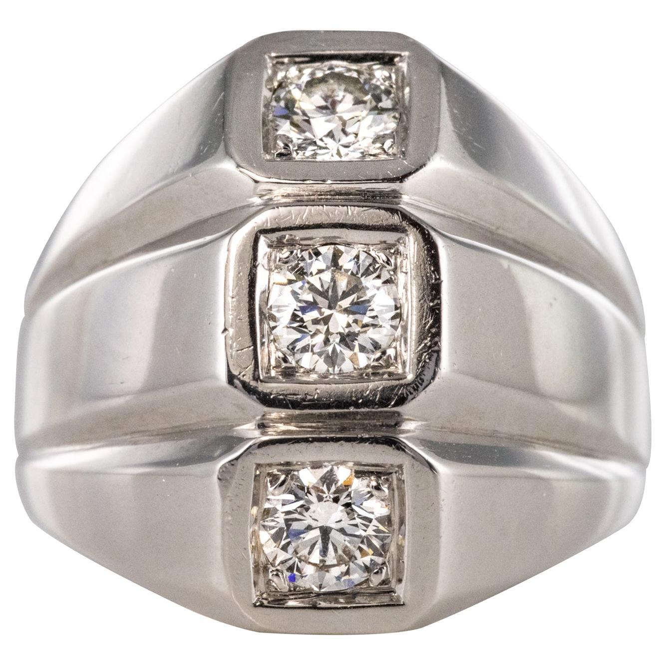 1950s Diamonds 18 Karat White Gold Modernist Ring