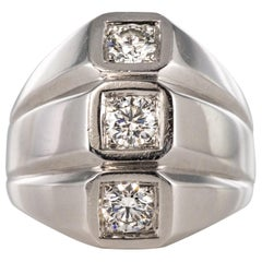 1950s Diamonds 18 Karat White Gold Modernist Ring