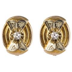 1950s Diamonds 18 Karat Yellow and White Gold Retro Stud Earrings
