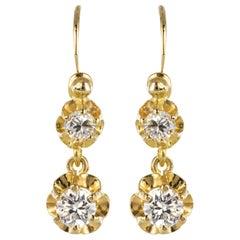 1950s Diamonds 18 Karat Yellow Gold Drop Earrings