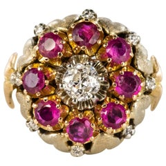 1950s Diamonds Ruby 18 Karat Yellow Gold Flower Ring