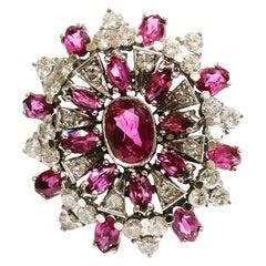 1950s 0.9 Carat Diamonds, Rubys 18k White Gold Cocktail Ring