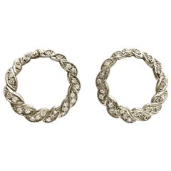 1950s Diamonds 18k White Gold Hoop Stud Earrings