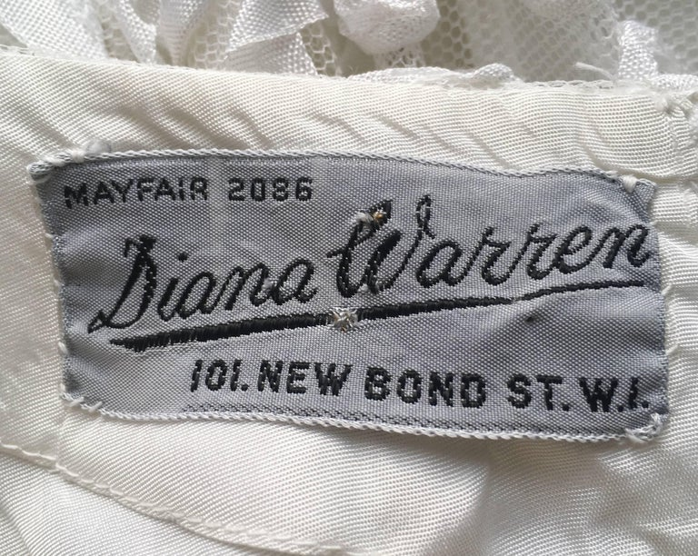 Women's 1950s Diana Warren White Tulle Dress With Ribbon Appliqué For Sale