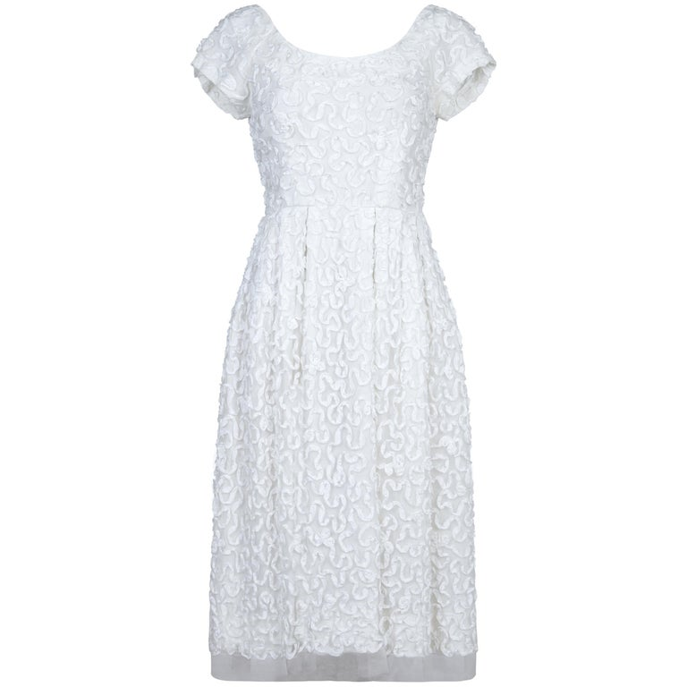 1950s Diana Warren White Tulle Dress With Ribbon Appliqué For Sale