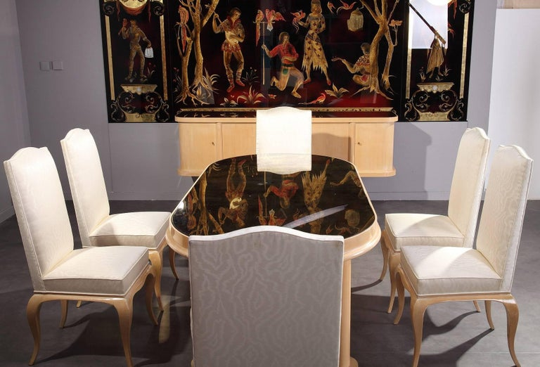 Mid-Century Modern 1950s Dining Room Set in Sycamore For Sale