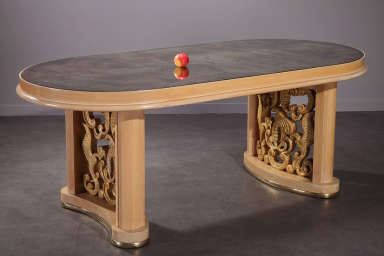 French 1950s Dining Room Set in Sycamore For Sale
