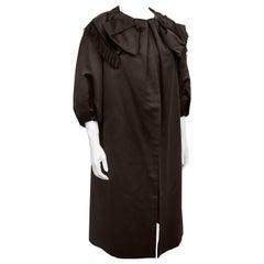 1950's Dior Inspired Brown Satin Opera Coat