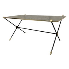 1950s Directoire Style Brass and Iron Coffee Table
