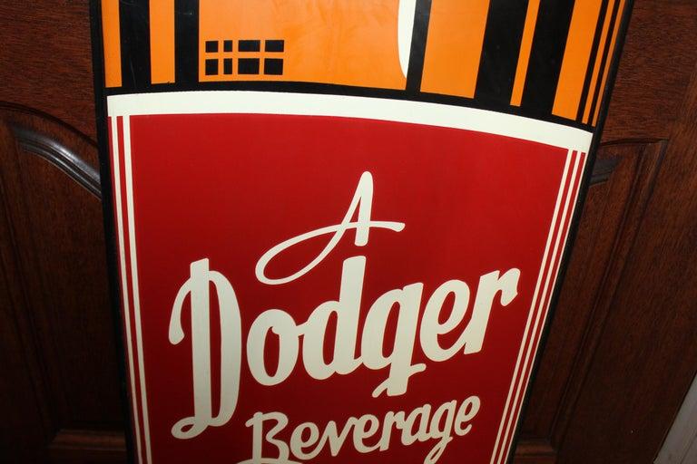 1950s Dodger Beverage Cola Die-Cut Bottle Tin Advertising Sign NOS For Sale 5
