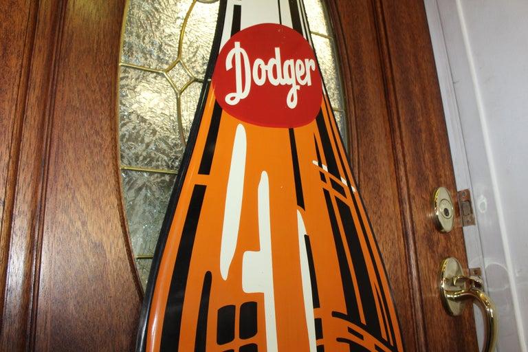 1950s Dodger Beverage Cola Die-Cut Bottle Tin Advertising Sign NOS For Sale 7