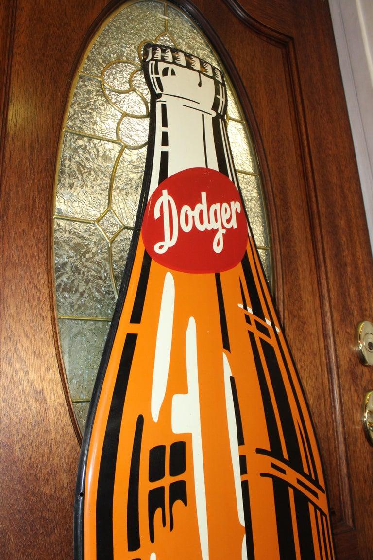 1950s Dodger Beverage Cola Die-Cut Bottle Tin Advertising Sign NOS For Sale 8