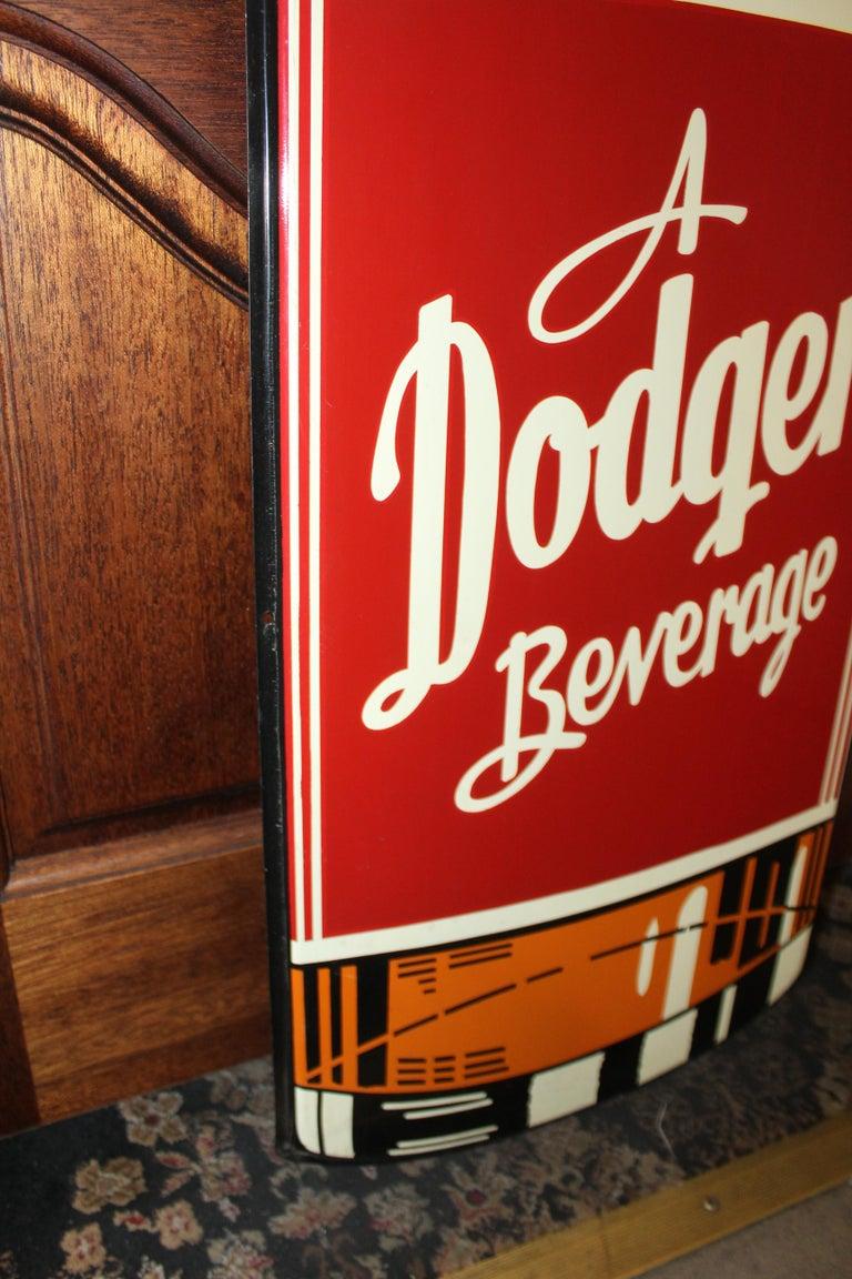 1950s Dodger Beverage Cola Die-Cut Bottle Tin Advertising Sign NOS For Sale 9