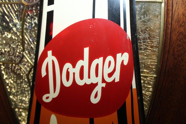 1950s Dodger Beverage Cola Die-Cut Bottle Tin Advertising Sign NOS For Sale 10