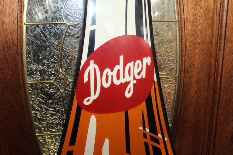 American 1950s Dodger Beverage Cola Die-Cut Bottle Tin Advertising Sign NOS For Sale