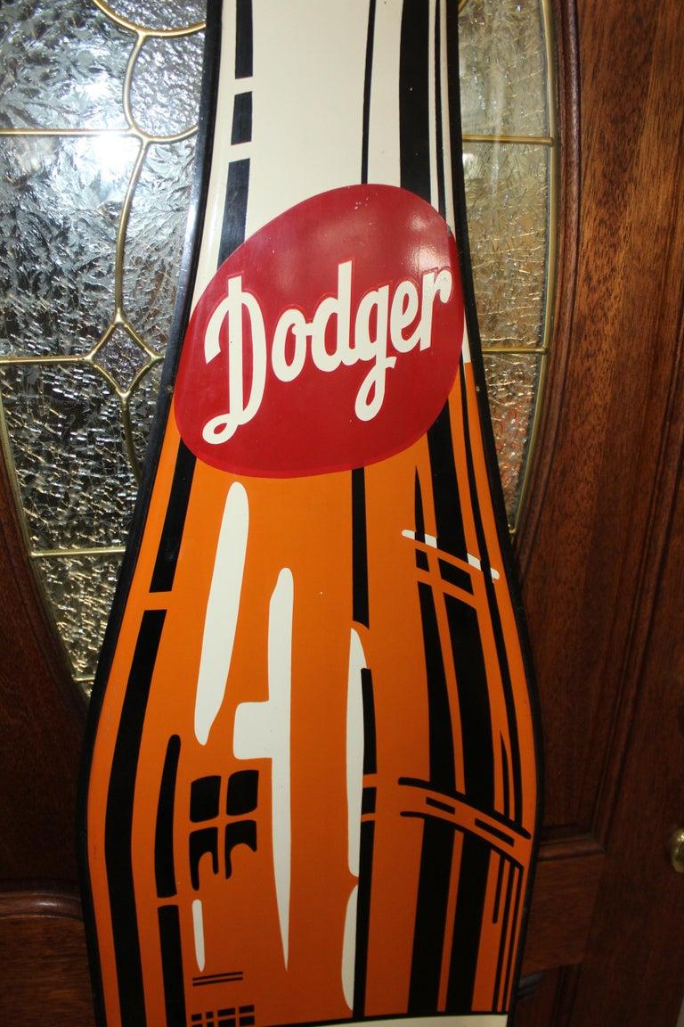1950s Dodger Beverage Cola Die-Cut Bottle Tin Advertising Sign NOS In Good Condition For Sale In Orange, CA