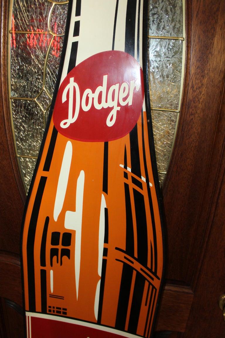 Mid-20th Century 1950s Dodger Beverage Cola Die-Cut Bottle Tin Advertising Sign NOS For Sale