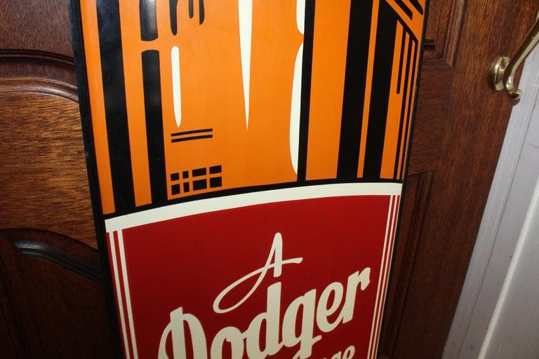 1950s Dodger Beverage Cola Die-Cut Bottle Tin Advertising Sign NOS For Sale 1