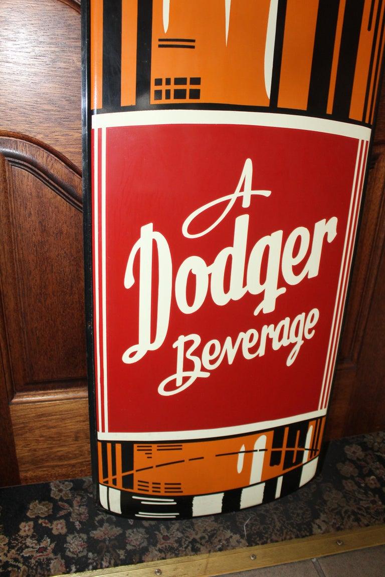 1950s Dodger Beverage Cola Die-Cut Bottle Tin Advertising Sign NOS For Sale 2