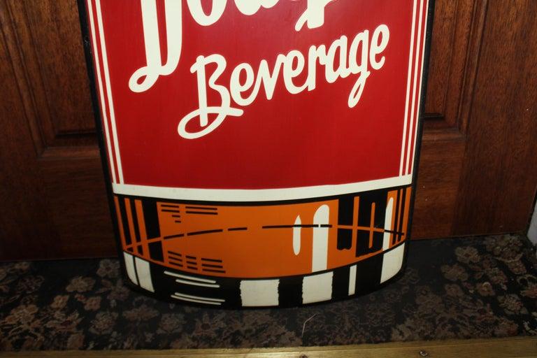 1950s Dodger Beverage Cola Die-Cut Bottle Tin Advertising Sign NOS For Sale 3