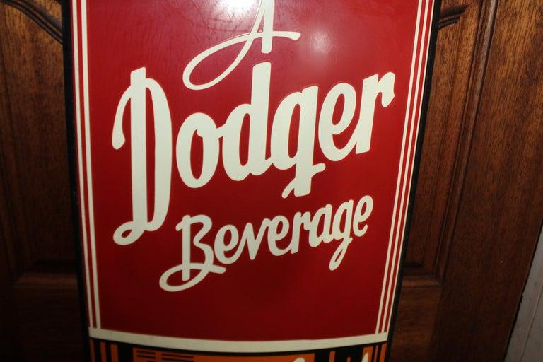 1950s Dodger Beverage Cola Die-Cut Bottle Tin Advertising Sign NOS For Sale 4