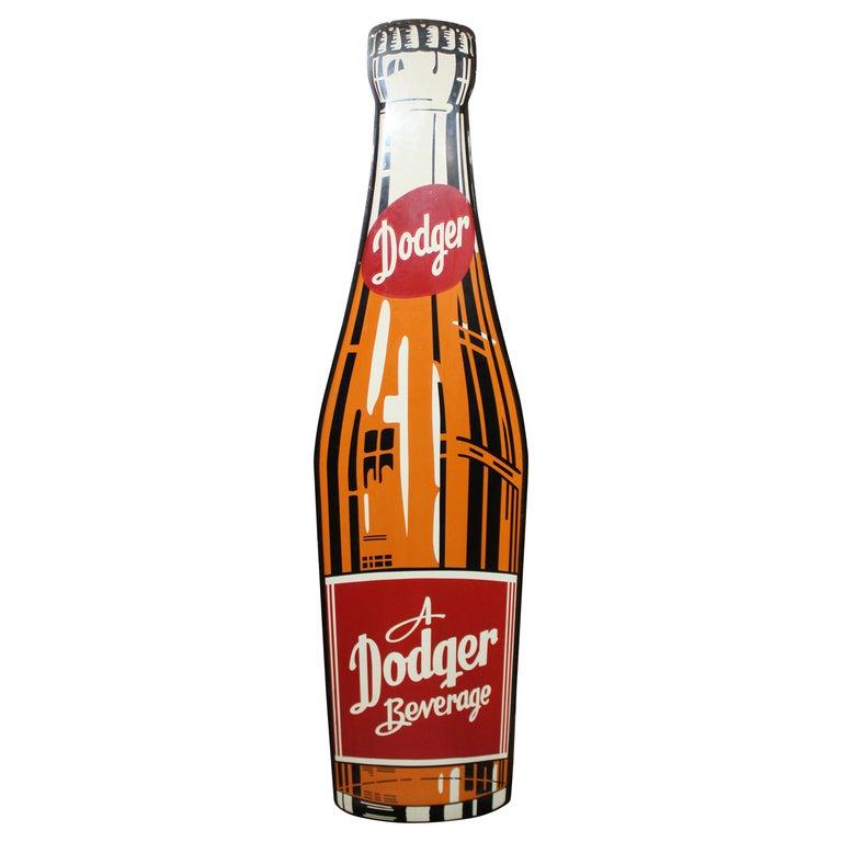 1950s Dodger Beverage Cola Die-Cut Bottle Tin Advertising Sign NOS For Sale