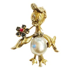 1950s Donald Duck, South Sea Pearl, Diamonds, Sapphhires Ruby Gold Brooch