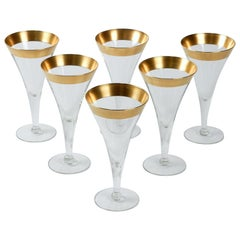 1950s Dorothy Thorpe Gold Band Tall Martini Glass, Set of 6