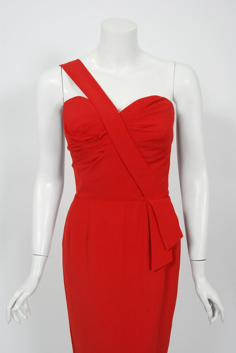Exquisite late 1950's sculpted ruby-red rayon crepe hourglass gown by the famous