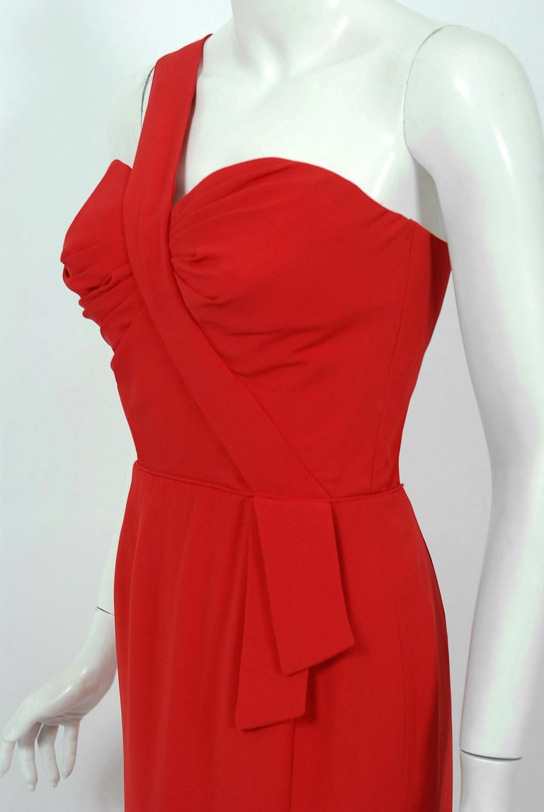 Women's Vintage 1950's Dorothy O'Hara Red Rayon Crepe One-Shoulder Hourglass Slit Gown For Sale