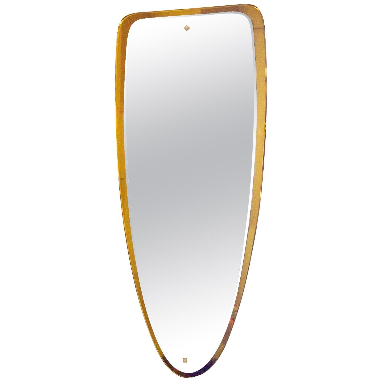1950s Double Beveled Mirror, Golden Orange Mirror Frame, Bronze, Italy